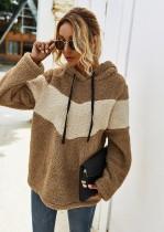 Camisa con capucha de forro polar en contraste de otoño