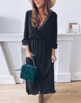 Vestido casual largo envuelto con cuello en V negro de otoño