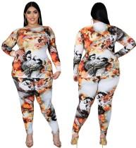 Camicia stampata abbinata a due pezzi e set di leggings