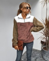 Herbst Kontrast Kontrast Fleece Pullover Shirts