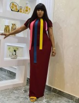 Afrikanisches kurzes langes Kleid mit kurzen Ärmeln