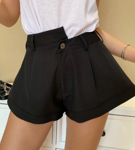 Black High Waist Wide Legges Shorts