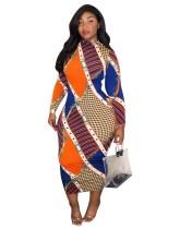 Drucken Sie buntes afrikanisches Herbst-kurviges langes Partykleid