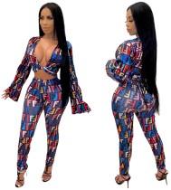 Top corto e pantaloni con stampa abbinata a due pezzi sexy