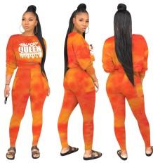 Tweedelige bijpassende tie-dye crop top en broek met hoge taille