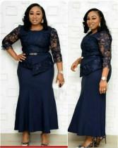 Длинное платье с баской и поясом для матери невесты больших размеров