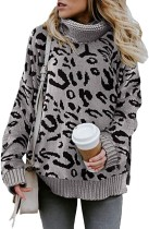 Turndown Collar Leopard Regular Sweater