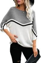 Maglione allentato pullover con collo a contrasto autunnale