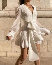 Özel Beyaz Derin V Patenci Elbisesi