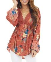 Camisa peplum con cuello en V floral otoñal