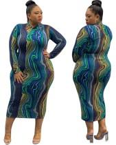 Plus Size buntes kurviges langes Kleid mit vollen Ärmeln
