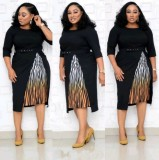 Plus Size Mother of Bride Midi Dress with Belt
