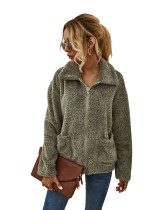 Herbst Fleece Plain Zipper Jacke mit Taschen