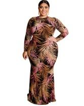 Vestido de noche de sirena con estampado de talla grande y mangas completas