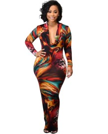 Sexy Deep-V Tie Dye Langes Partykleid