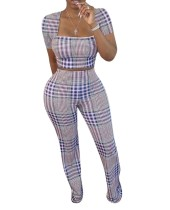 Aftican Matching Plaid Crop Top und Hosen Set