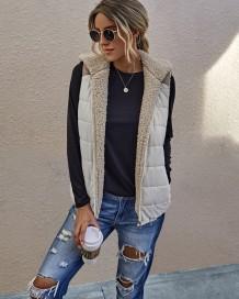 Jaqueta de lã polar outono sem mangas com capuz e bolsos