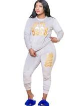 Sweatsuit de veludo estampado com estampa plus size