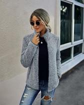 Veste zippée en polaire gris d'automne avec poches