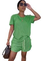 Sommer Zweiteiliger Plain Shirt und Shorts Freizeitanzug