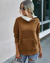 Herbst Solid Plain Pullover Cotton Tops