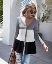 Herbst Button Up Kontrast V Neck Flare Shirt