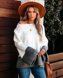 Weißer und grauer Pullover mit Kontrastpullover und weiten Ärmeln