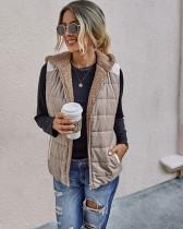 Veste à capuche sans manches en polaire d'automne avec poches