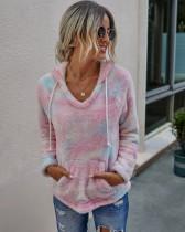 Autumn Tie Dye Fleece Pullover Hoodies