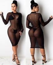 Vestido de club de malla transparente transparente negro