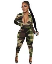 Sexy Camou Zipper Bodycon Jumpsuit mit vollen Ärmeln