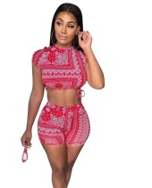Sexy Print Red Crop Top und passende Shorts Set