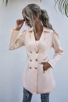 Autumn Solid Plain Long Blazer mit Taschen