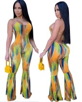 Sexy Backless Bell Bottom Tie Dye Halter Jumpsuit