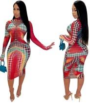 Vestido midi colorido africano sexy con mangas completas