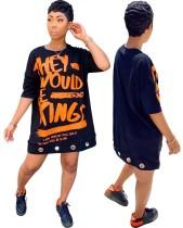 Sommer Street Style Print Shirt Kleid
