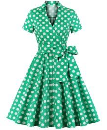 Kurzarm Polka Green Vintage Skater Kleid