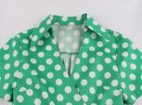 Short Sleeves Polka Green Vintage Skater Dress