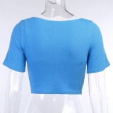 Blusas cortas de 2 piezas azules con nudo de otoño