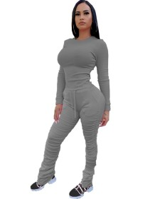 Herbst Solid Plain Shhirt und Stacked Pants Set
