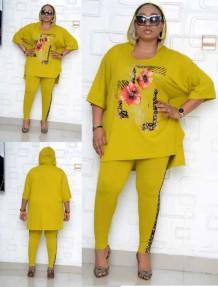 Conjunto de pantalones de dos piezas para madre de otoño de talla grande
