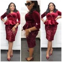 Gelin Annesi Pullu Kırmızı İki Parça Peplum Elbise