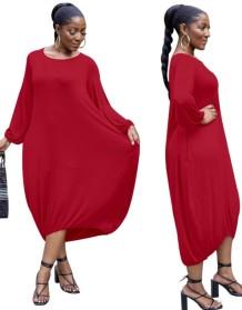 Herfstrode oversized lange jurk met volledige mouwen