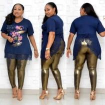 Plus Size Herbst Mutter zweiteilige Hose Set