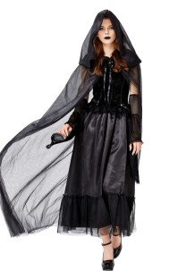 Halloween Women Black Bridal Costume