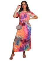 Vestido camisero largo con abertura lateral y efecto tie dye de verano