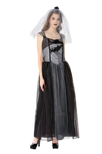 Halloween vrouwen zwart bruids kostuum