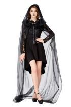 Fantasia feminina de vampiro negro para Halloween