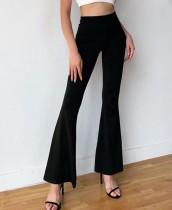 Westerse zwarte broek met hoge taille en wijde pijpen