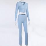 Conjunto de pantalón de cintura alta y top corto a juego azul otoño